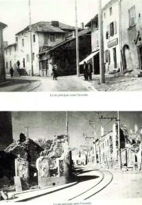 Oradour-sur-Glane Vision d'épouvante après l'incendie de la rue principale par les Nazis